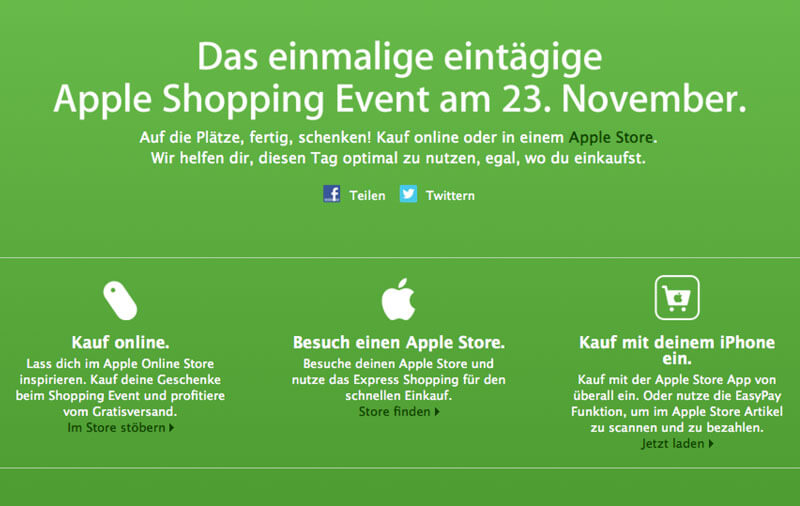 Apple Shopping Event am 23.11.2012