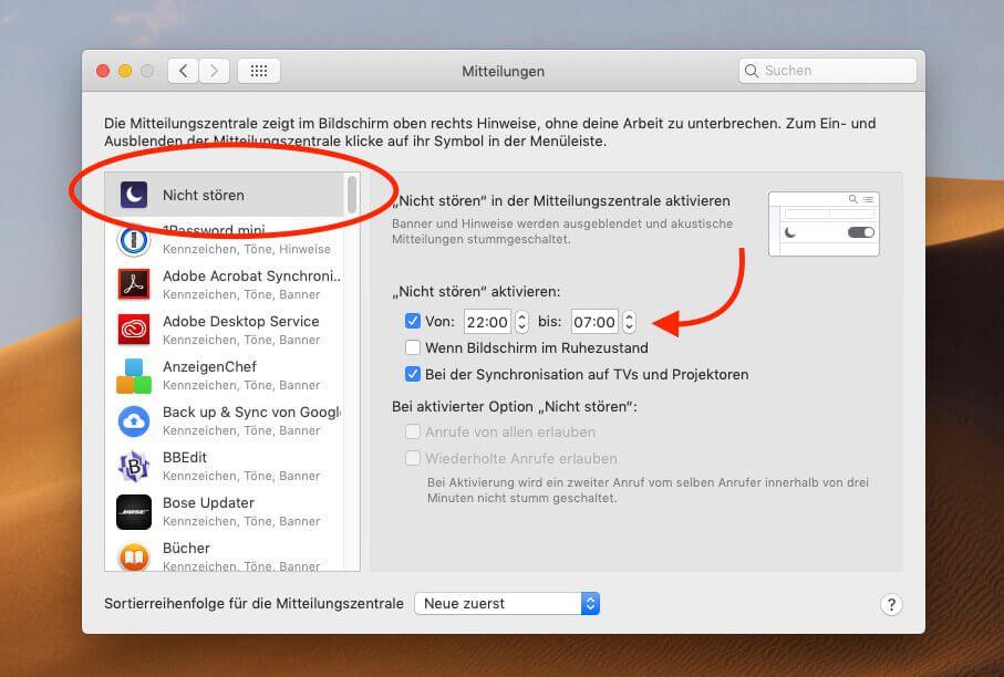 """Über die Option """"Nicht stören"""" lassen sich Benachrichtungen von Mail und anderen Programmen ebenfalls abschalten."""