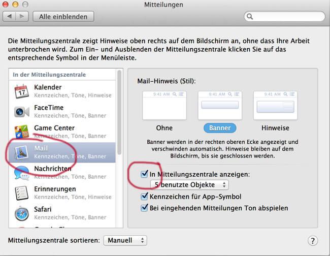 Apple Mail in der Nachrichtenzentrale