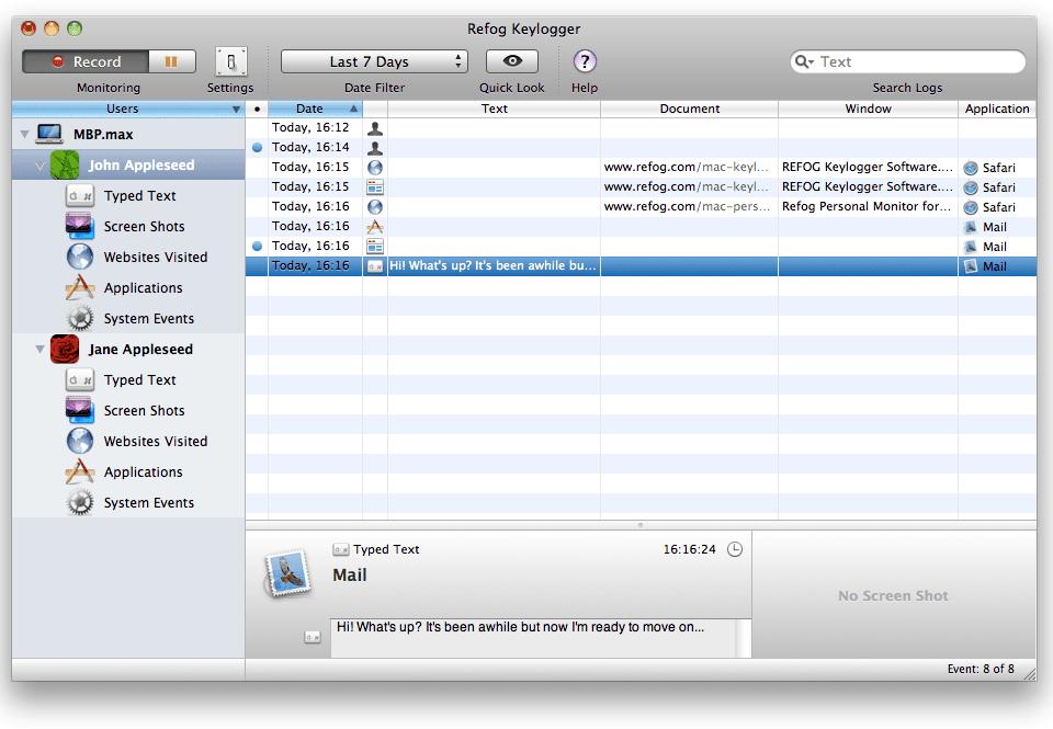 Hier sieht man, wie man sich durch Mails, besuchte Webseiten und verwendete Programme am Mac durchklicken kann. Und natürlich wird auch der Text mitgeschnitten, den man im Texteditor bzw. in Wordpress eintippt.