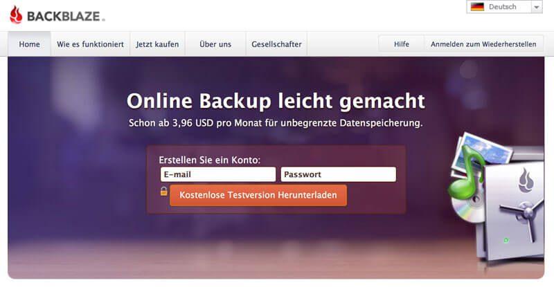 Backblaze Online-Backup OS X