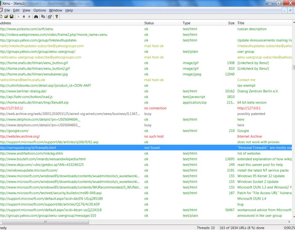 Xenu Link Check Screenshot