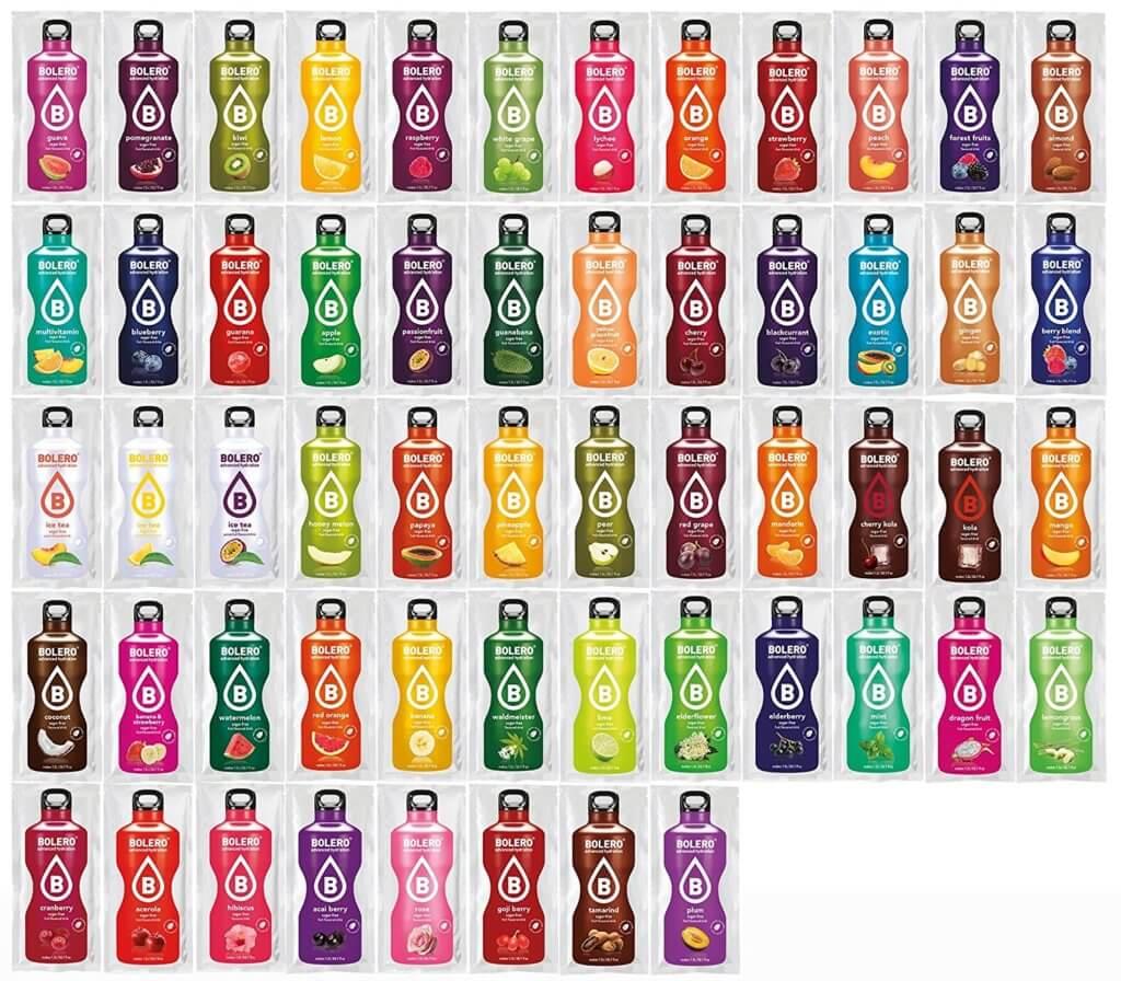 Auf diesem Produktbild findet ihr alle 56 Sorten, in denen es das Bolero-Getränkepulver derzeit gibt (Foto: Amazon).