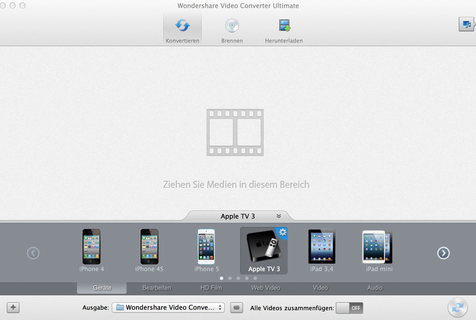 Wondershare Video Converter Ultimate Startscreen