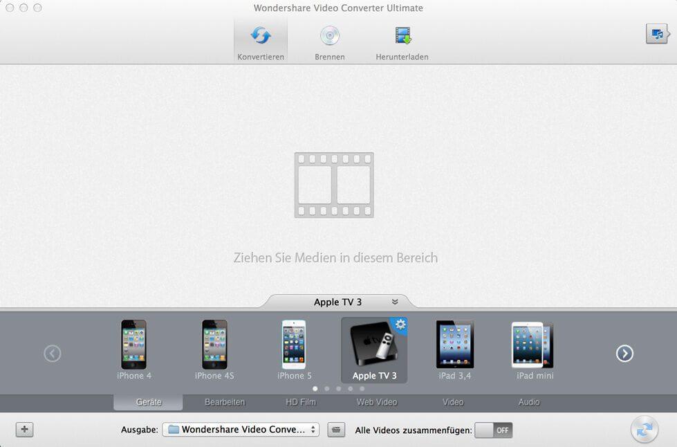Wondershare Video Converter Ultimate Startscreen