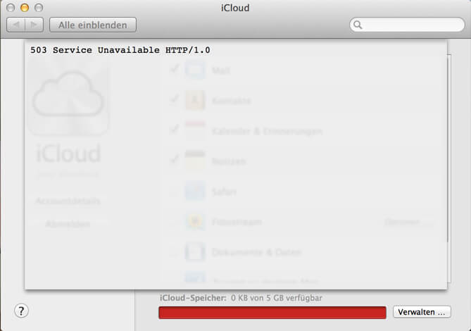 iCloud Fehler 503 Service Unavailable