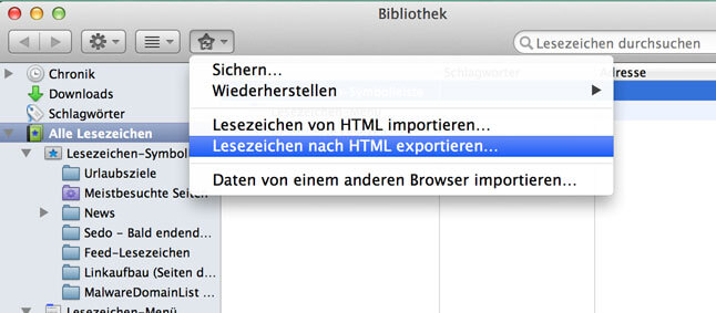 Firefox Lesezeichen exportieren