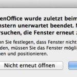 "OpenOffice Meldung ""Fenster wiederherstellen"" weg bekommen"