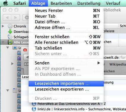 Safari Lesezeichen importieren