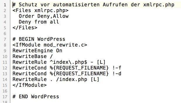 htaccess Schutz XML RPC