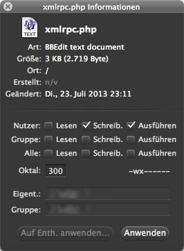 Rechte der XML-RPC Datei