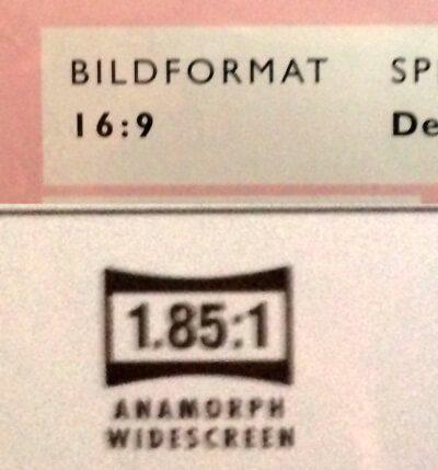 Aufdruck DVD Seitenverhältnis