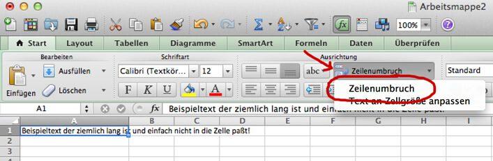 Button für den Excel Zeilenumbruch