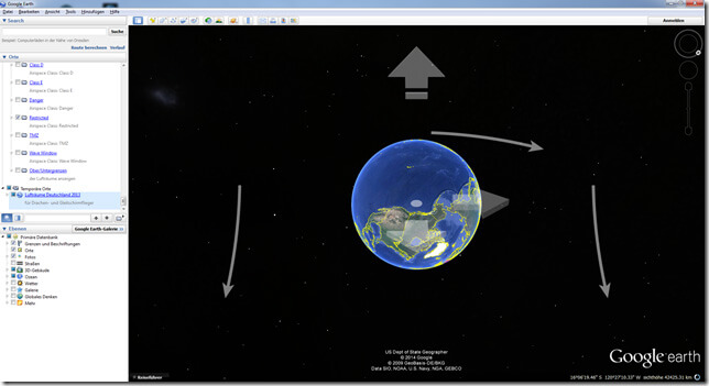 Google Earth mit Navigationspfeilen