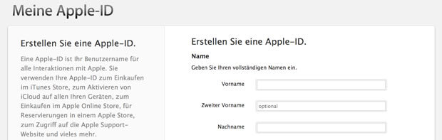 Screenshot Apple ID erstellen