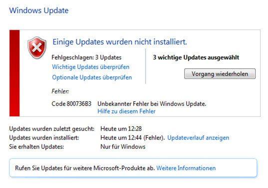 Windows Fehler Code 800736B3