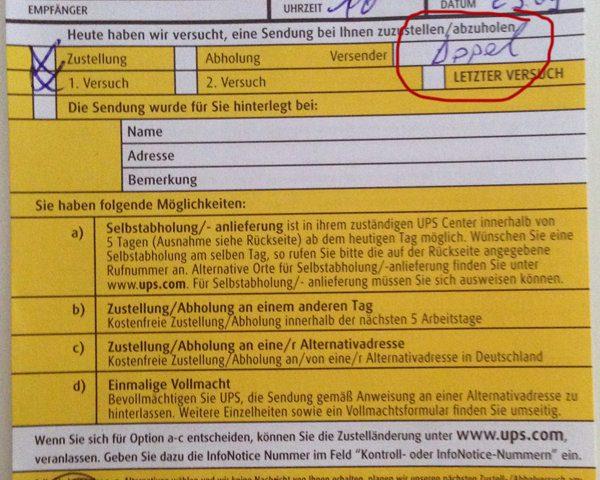 UPS Benachrichtigung