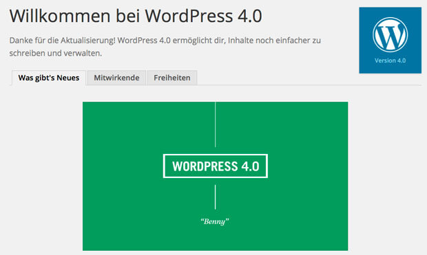 Wordpress 4.0 Willkommen