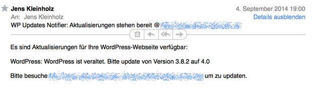 Wordpress Update Nachricht