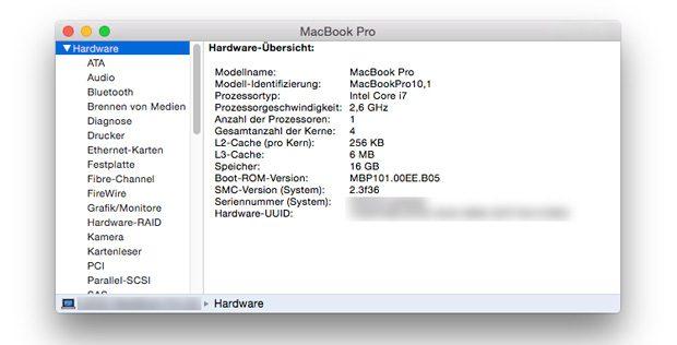 Systemprofiler MacBook Pro