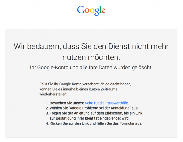 Google Konto gelöscht