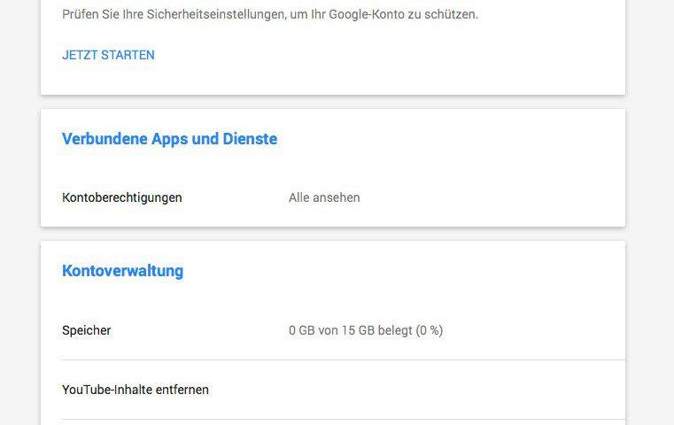 Google Kontoverwaltung