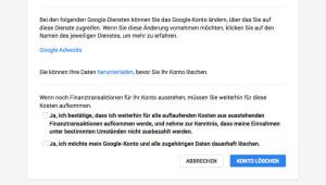 Googlekonto löschen Bestätigung