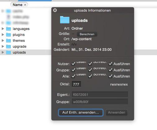 Wordpress Rechte beim Upload auf 777