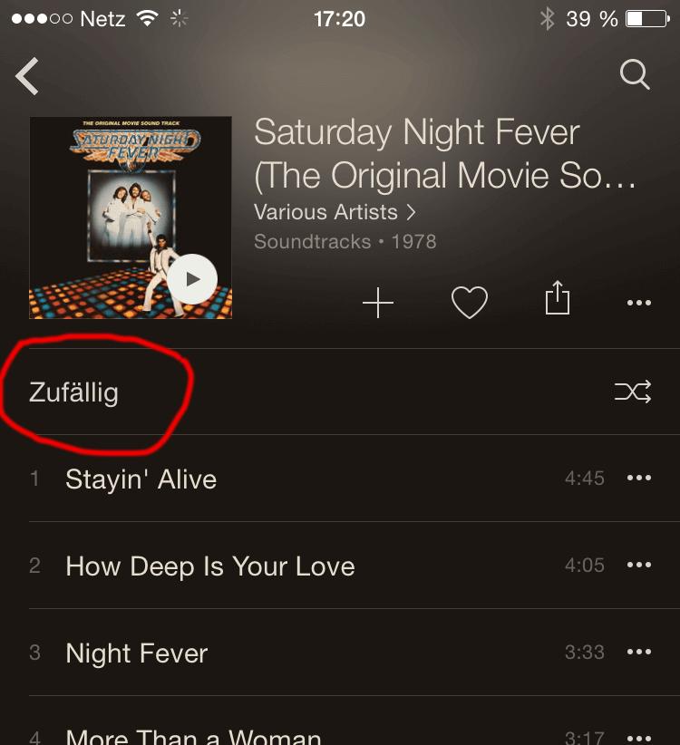 Screenshot Apple Music zufällige Wiedergabe