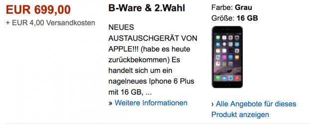 iPhone 6 plus als B-Ware
