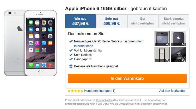 auf reBuy.de kann man sein iPhone 6 gebraucht kaufen