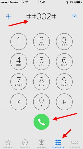 Mobilbox abschalten über Ziffernblock