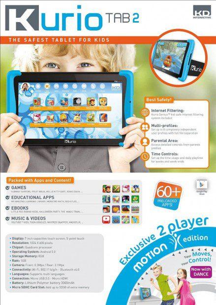 Kurio Tab2 motion 7 Zoll Kinder Tablet PC (MTK Mediatek Quadcore, 1GB RAM, 8GB HDD, Android)