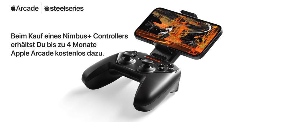 Ein besonderes Goodie für die Apple User: Beim Kauf des Nimbus+ Controllers erhält man bis zu 4 Monate Apple Arcade kostenlos dazu.