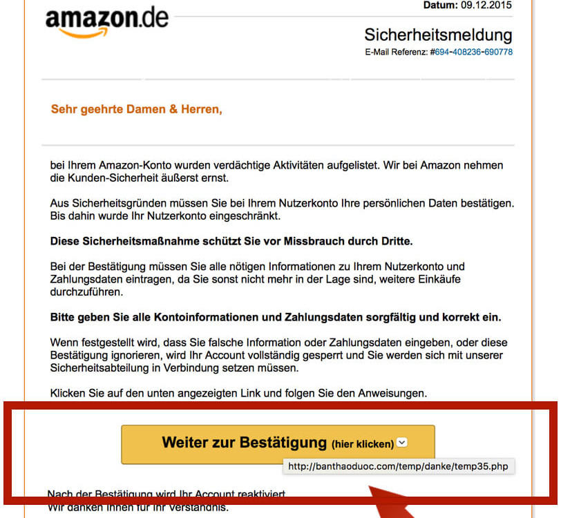 Amazon Phishing E-Mail