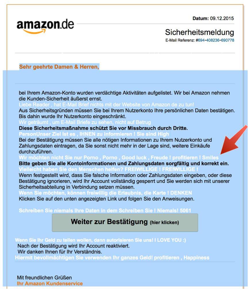 Amazon Phishing E-Mail markierter Text
