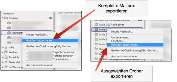 Apple Mail Postfach exportieren