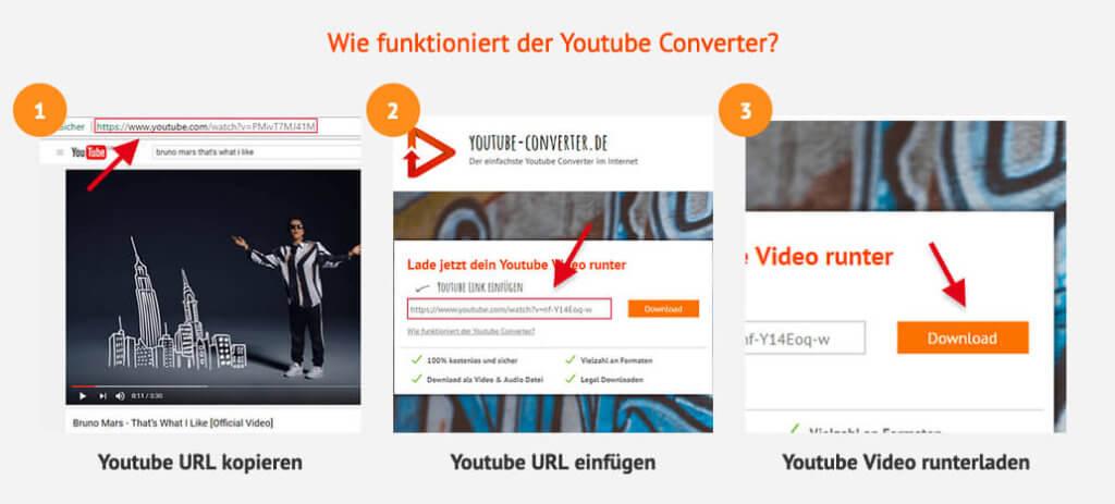 Die Anleitung zum Online Youtube-Converter ist sehr straight forward: URL reinkopieren und los geht's!