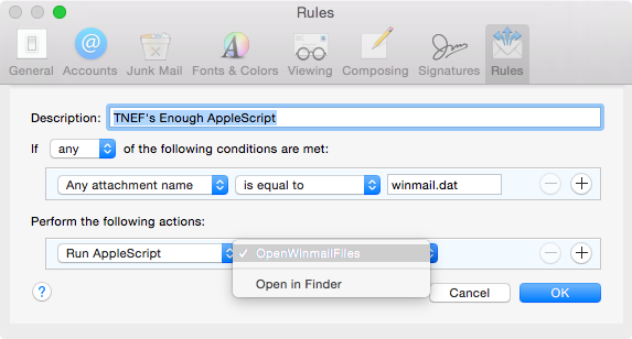 TNEF-AppleScript-Rule für winmail.dat Dateien