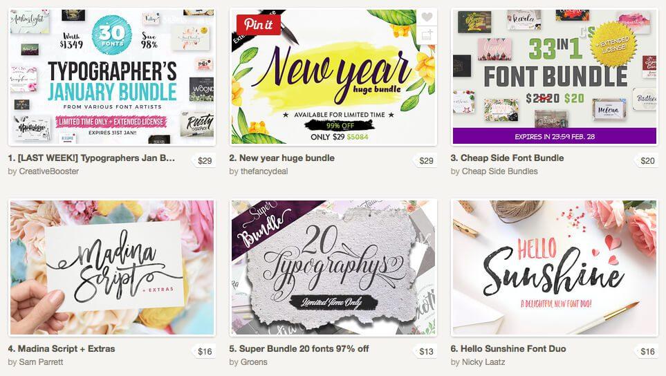 Auf der Webseite Creative Market findet man regelmässig Angebote mit vielen Schriftarten zu günstigen Preisen.