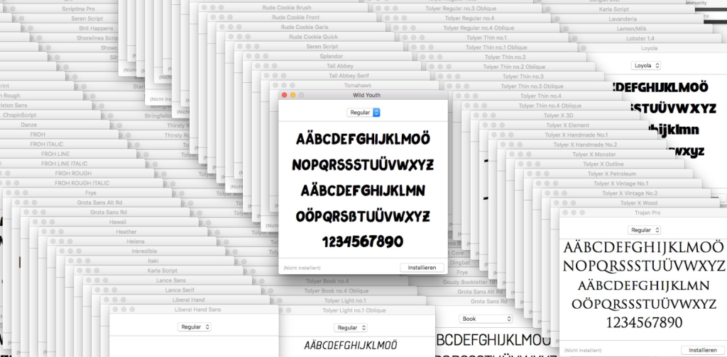 Screenshot mehrere Schriften/Fonts installieren am Mac