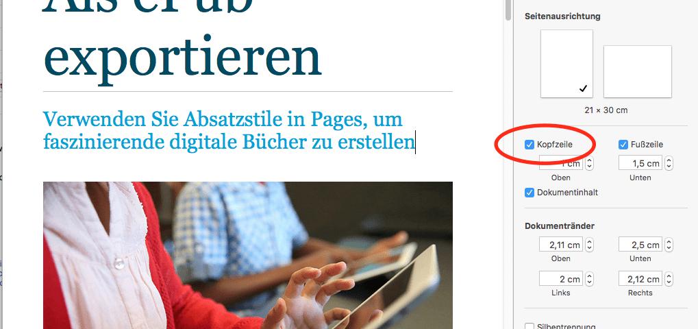 Screenshot: Pages Vorlage mit Kopfzeile