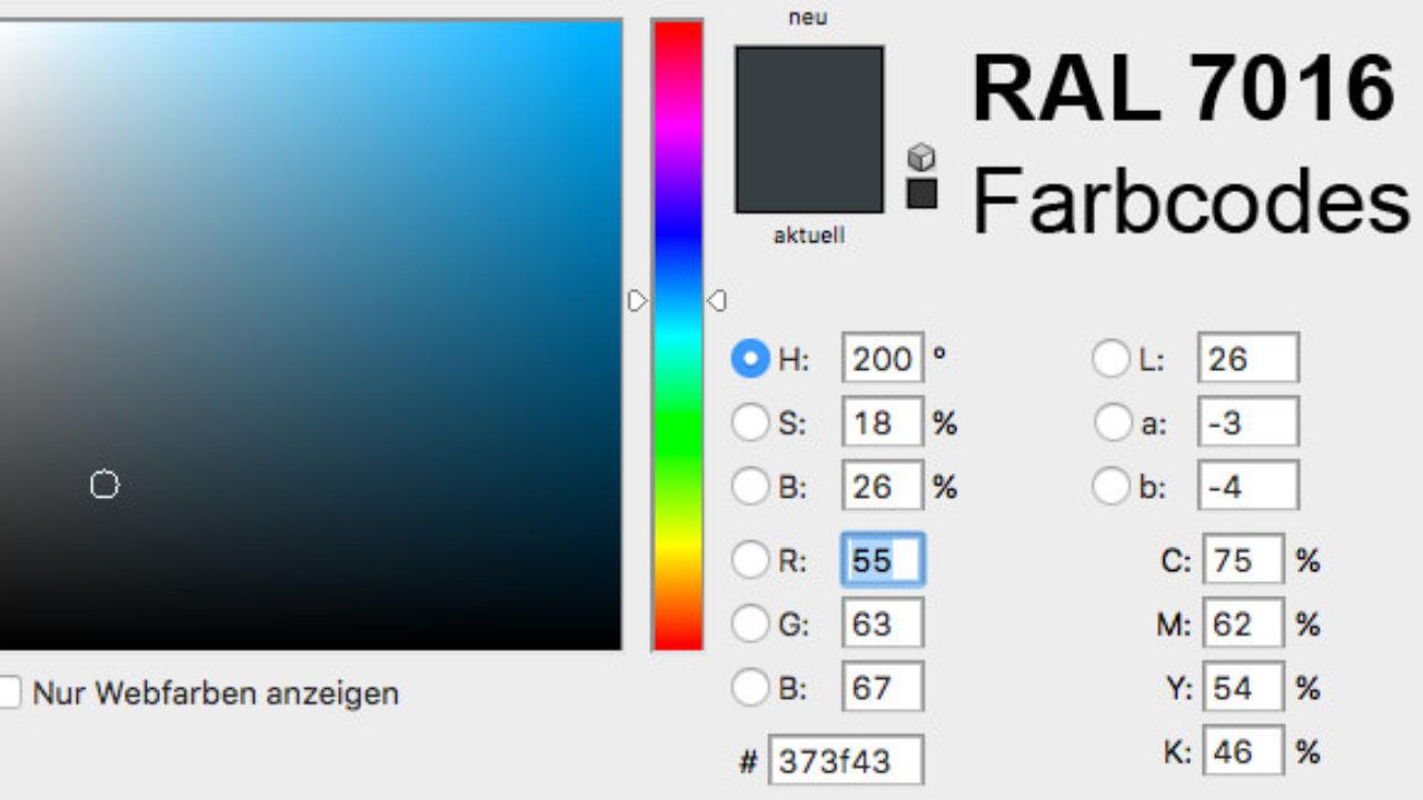 Ncs Farben In Ral.Ral 7016 Farbe Als Ncs Alternative Und Rgb Cmyk Code