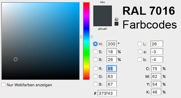 Farbcodes in RGB, CMYK und LAB sowie Alternativen zu RAL 7016