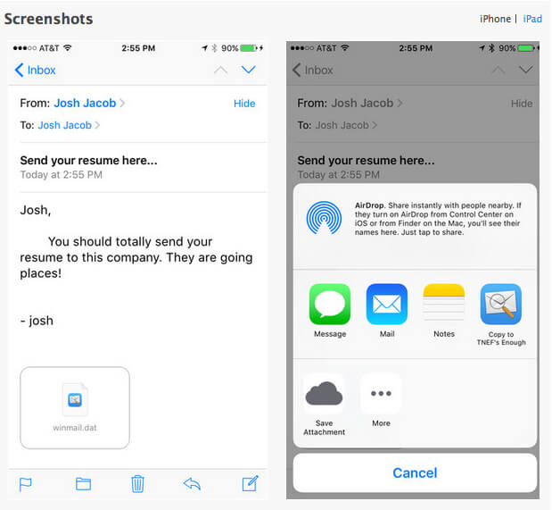 TNEF's Enough – ein Screenshot der iOS App