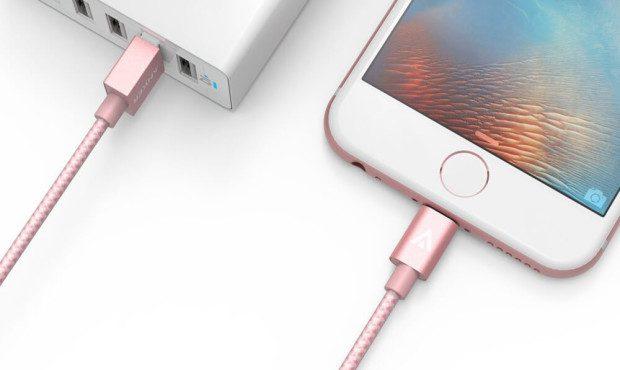 Anker iPhone Ladekabel in Rosegold