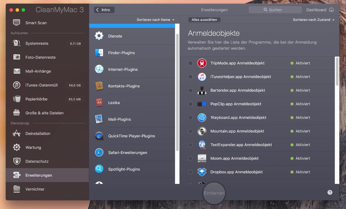 """Das Tool """"Erweiterungen"""" ist die richtige Anlaufstelle für einen Frühjahrsputz, wenn man Hintergrundskripte rauswerfen möchte."""