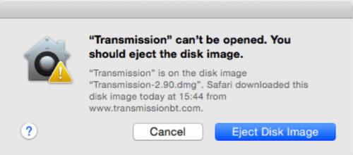 Das OS X System verhindert, dass Benutzer den infizierten Installer öffnen können.
