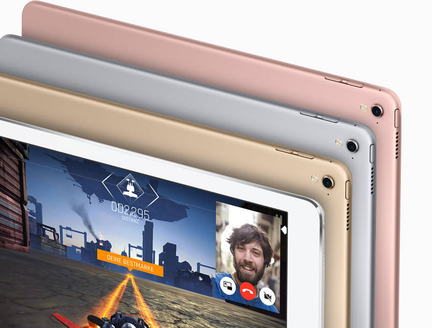 Auch das kleine iPad Pro kommt in den gewohnten Farbvarianten, die wir auch schon vom iPhone und den anderen iPad-Modellen kennen.