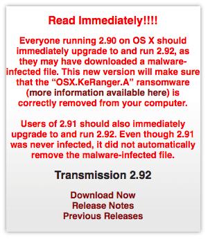 Ransomware OSX.KeRanger.A: Transmission hat gehandelt.